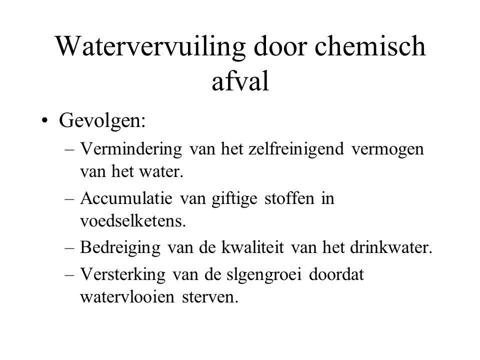 Watervervuiling door chemisch afval Gevolgen: –Vermindering van het zelfreinigend vermogen van het water. –Accumulatie van giftige stoffen in voedselk