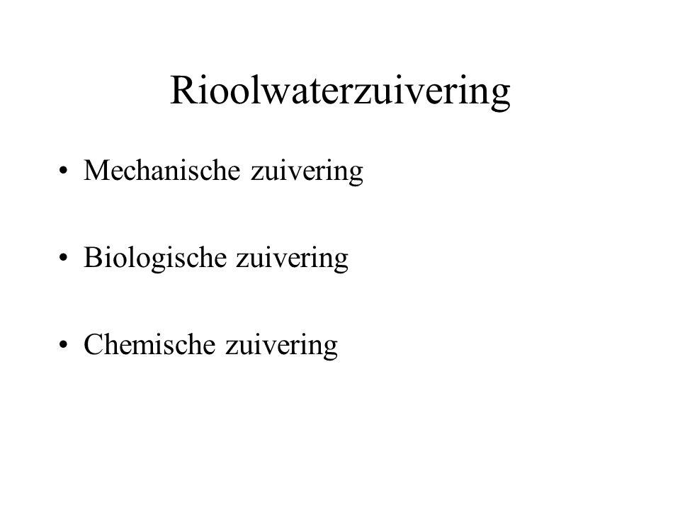 Rioolwaterzuivering Mechanische zuivering Biologische zuivering Chemische zuivering