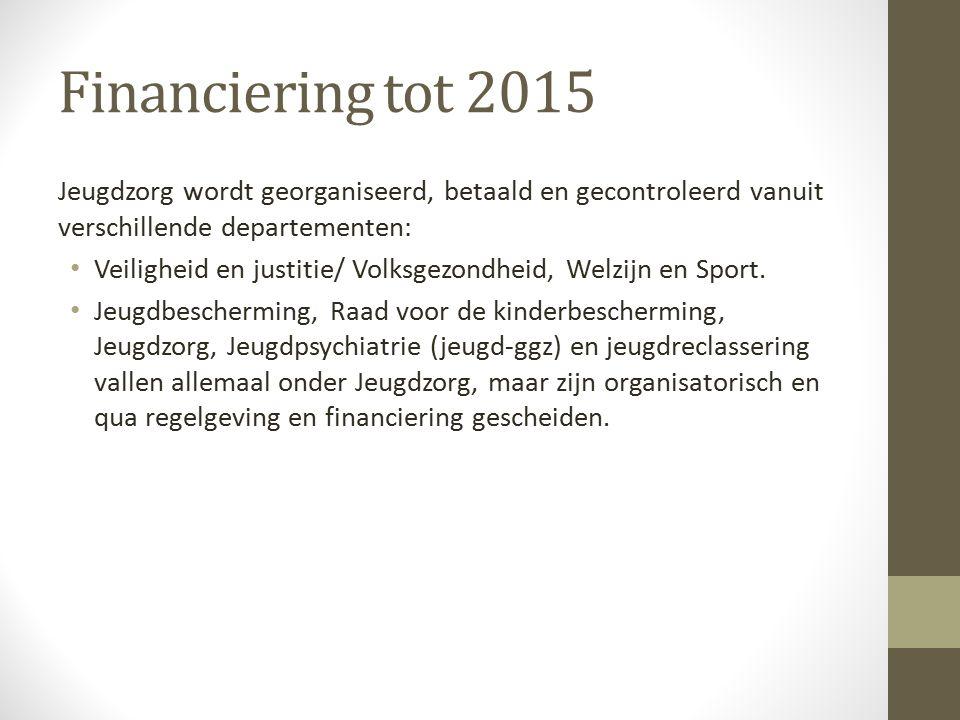 Financiering tot 2015 Jeugdzorg wordt georganiseerd, betaald en gecontroleerd vanuit verschillende departementen: Veiligheid en justitie/ Volksgezondheid, Welzijn en Sport.