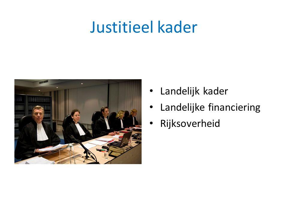 Justitieel kader Landelijk kader Landelijke financiering Rijksoverheid
