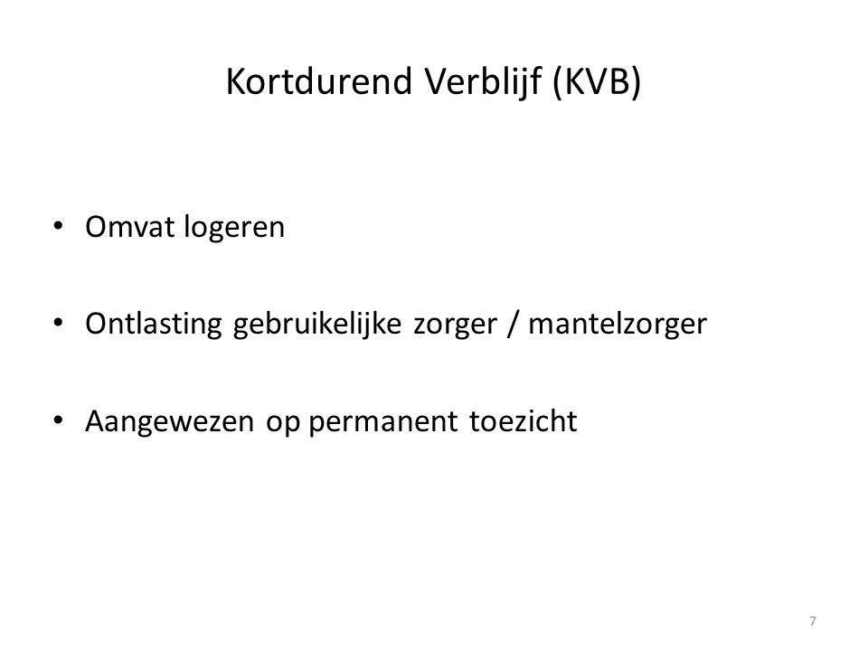Kortdurend Verblijf (KVB) Omvat logeren Ontlasting gebruikelijke zorger / mantelzorger Aangewezen op permanent toezicht 7