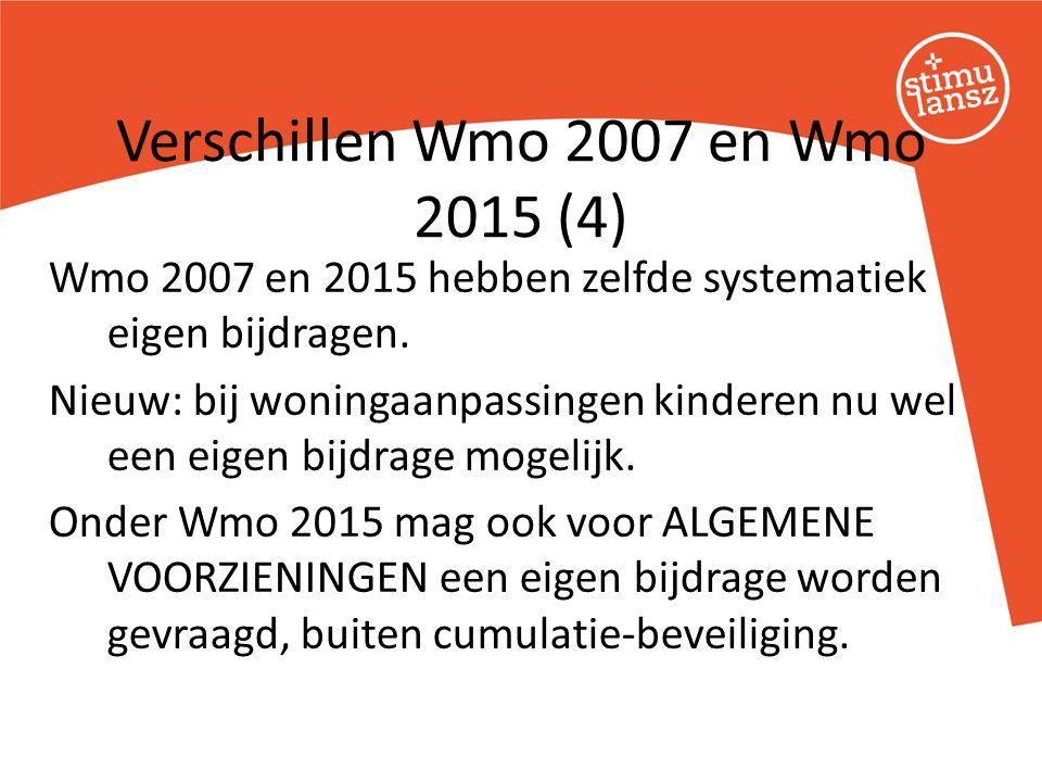 Wmo 2007 en 2015 hebben zelfde systematiek eigen bijdragen.