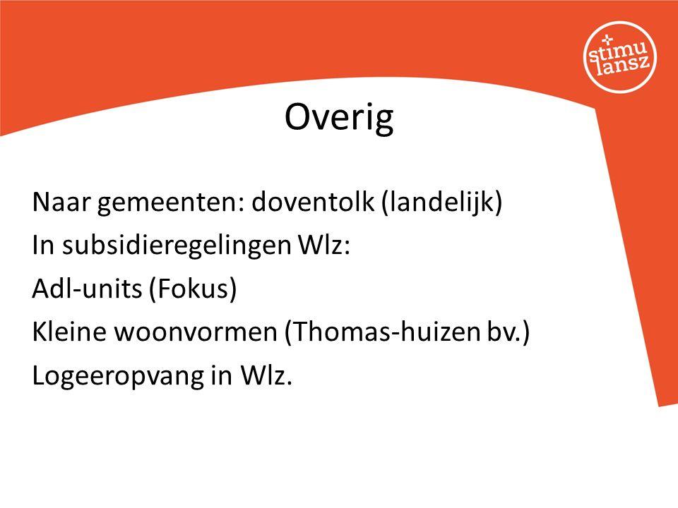 Naar gemeenten: doventolk (landelijk) In subsidieregelingen Wlz: Adl-units (Fokus) Kleine woonvormen (Thomas-huizen bv.) Logeeropvang in Wlz.