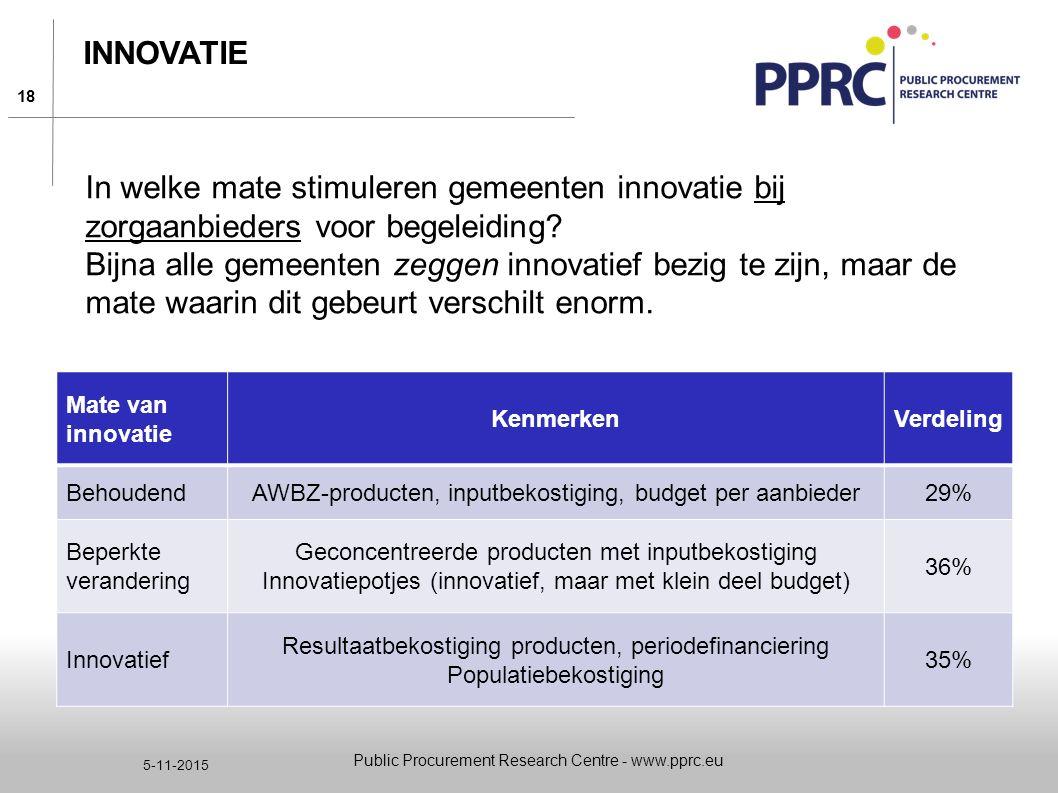 18 5-11-2015 INNOVATIE Public Procurement Research Centre - www.pprc.eu Mate van innovatie KenmerkenVerdeling BehoudendAWBZ-producten, inputbekostigin