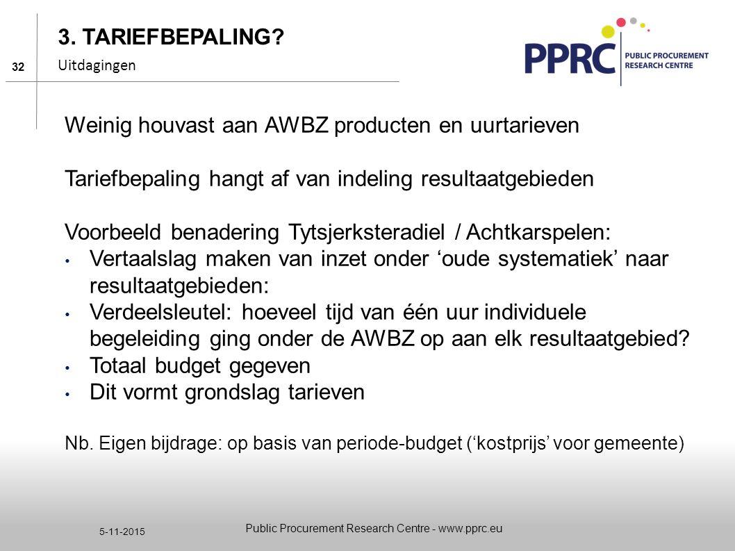 32 5-11-2015 3. TARIEFBEPALING? Uitdagingen Weinig houvast aan AWBZ producten en uurtarieven Tariefbepaling hangt af van indeling resultaatgebieden Vo