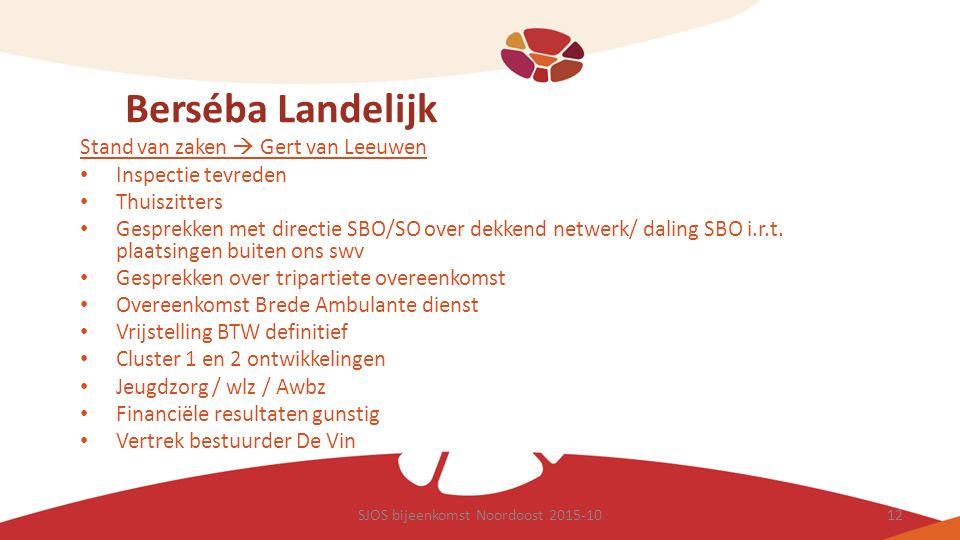 Berséba Landelijk Stand van zaken  Gert van Leeuwen Inspectie tevreden Thuiszitters Gesprekken met directie SBO/SO over dekkend netwerk/ daling SBO i