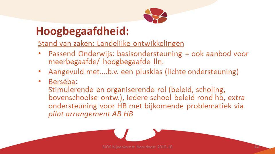 Hoogbegaafdheid: Stand van zaken: Landelijke ontwikkelingen Passend Onderwijs: basisondersteuning = ook aanbod voor meerbegaafde/ hoogbegaafde lln. Aa