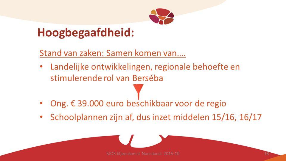 Hoogbegaafdheid: Stand van zaken: Samen komen van…. Landelijke ontwikkelingen, regionale behoefte en stimulerende rol van Berséba Ong. € 39.000 euro b