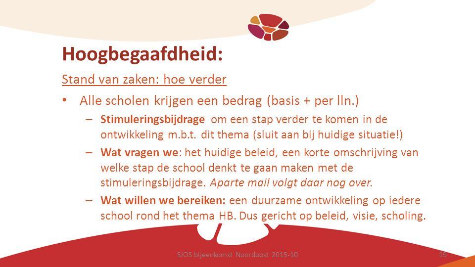 Hoogbegaafdheid: Stand van zaken: hoe verder Alle scholen krijgen een bedrag (basis + per lln.) – Stimuleringsbijdrage om een stap verder te komen in