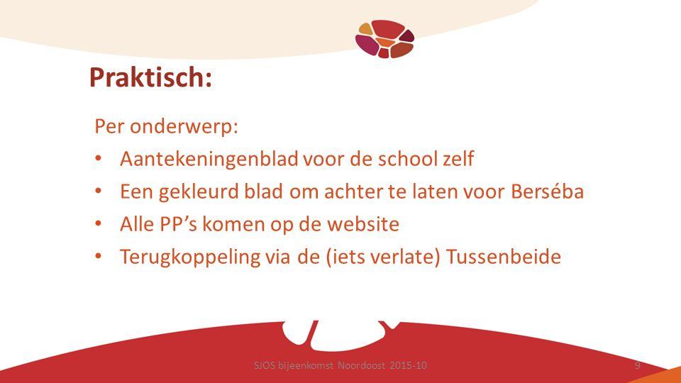 Praktisch: Per onderwerp: Aantekeningenblad voor de school zelf Een gekleurd blad om achter te laten voor Berséba Alle PP's komen op de website Terugk