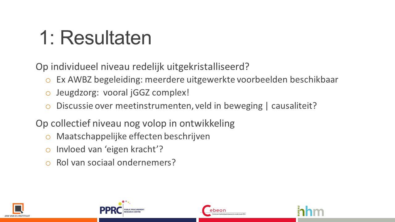 1: Resultaten Innovatie van de ondersteuning noodzakelijk.
