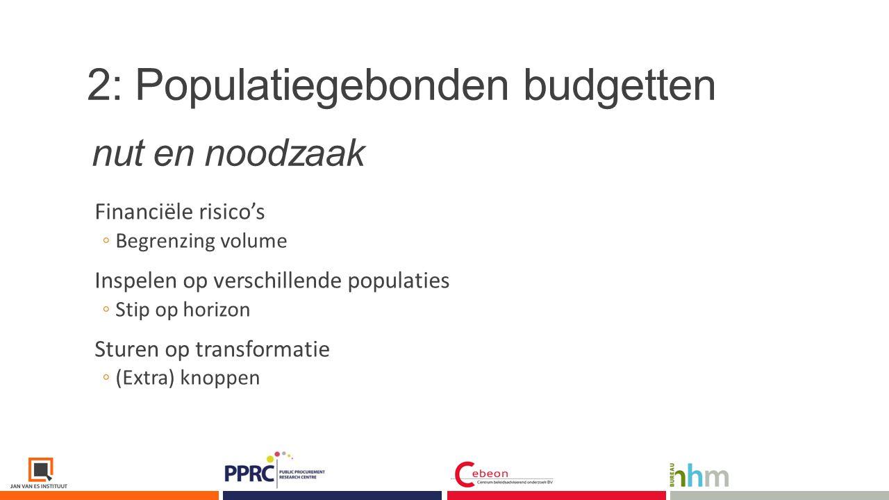 2: Populatiegebonden budgetten Van grof naar fijn ◦Haalbaarheid op korte termijn ◦Mogelijkheden tot vergelijking Modulair ◦Lokale (bestuurlijke) keuzes ◦Combinaties en groeiperspectief dichterbij dan u denkt.
