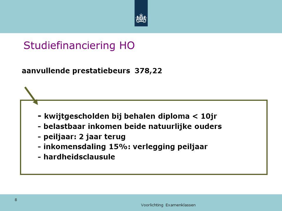 Voorlichting Examenklassen 9 Studiefinanciering HO Geen aanvullende beurs (meer).