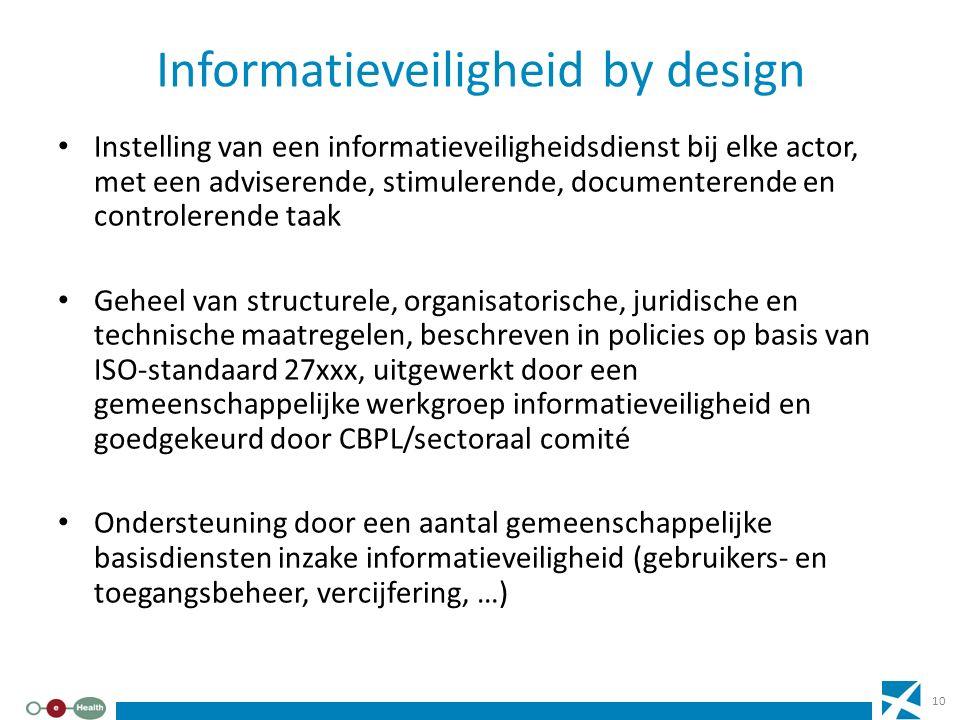 Informatieveiligheid by design Instelling van een informatieveiligheidsdienst bij elke actor, met een adviserende, stimulerende, documenterende en con