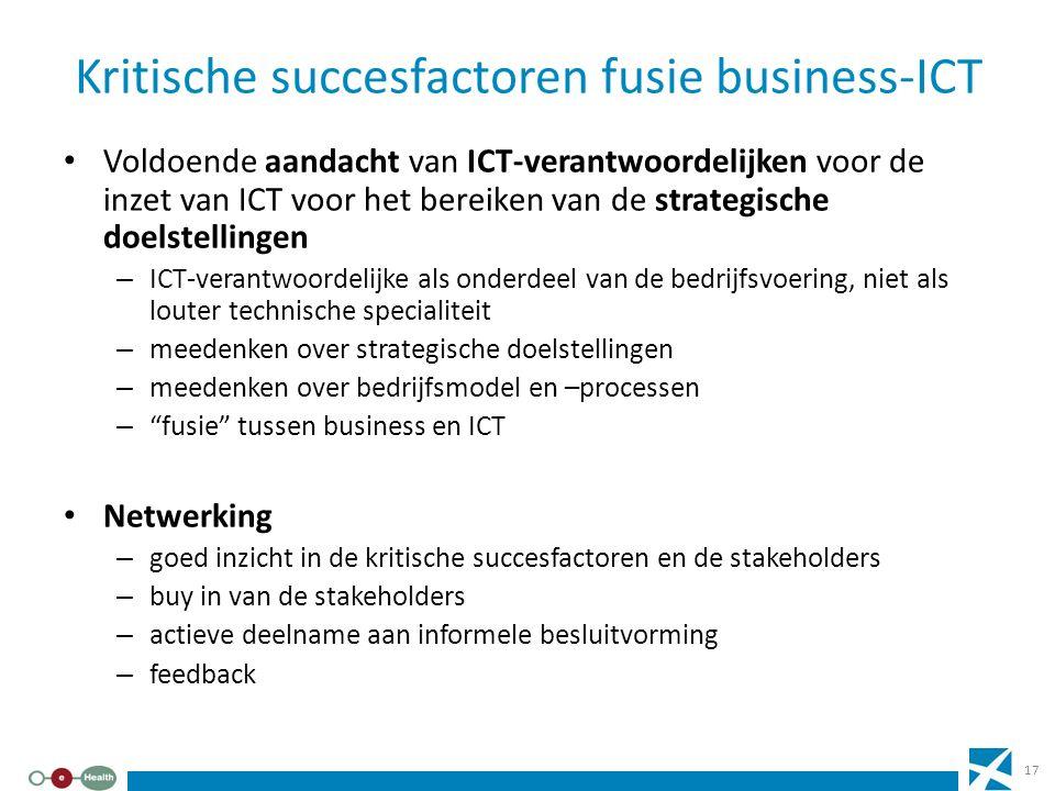 Kritische succesfactoren fusie business-ICT Voldoende aandacht van ICT-verantwoordelijken voor de inzet van ICT voor het bereiken van de strategische