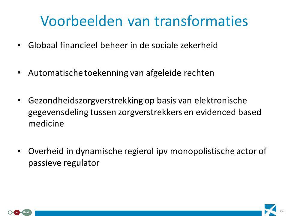 Voorbeelden van transformaties Globaal financieel beheer in de sociale zekerheid Automatische toekenning van afgeleide rechten Gezondheidszorgverstrek