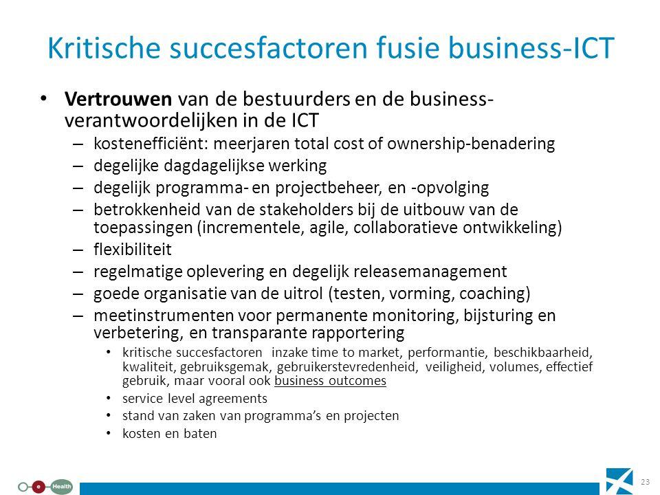 Kritische succesfactoren fusie business-ICT Vertrouwen van de bestuurders en de business- verantwoordelijken in de ICT – kostenefficiënt: meerjaren to