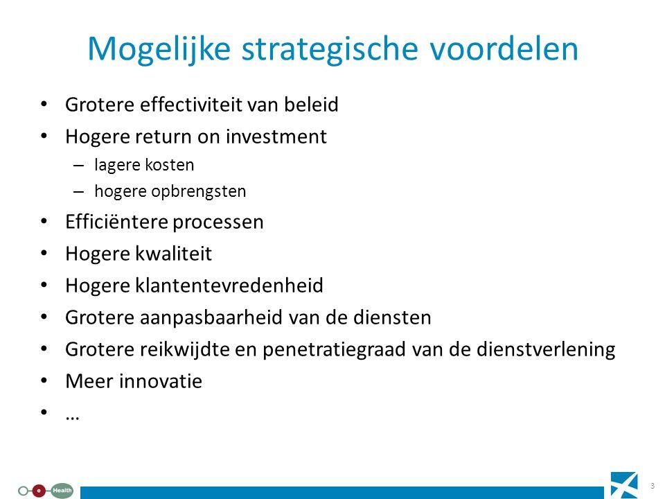 Mogelijke strategische voordelen Grotere effectiviteit van beleid Hogere return on investment – lagere kosten – hogere opbrengsten Efficiëntere proces