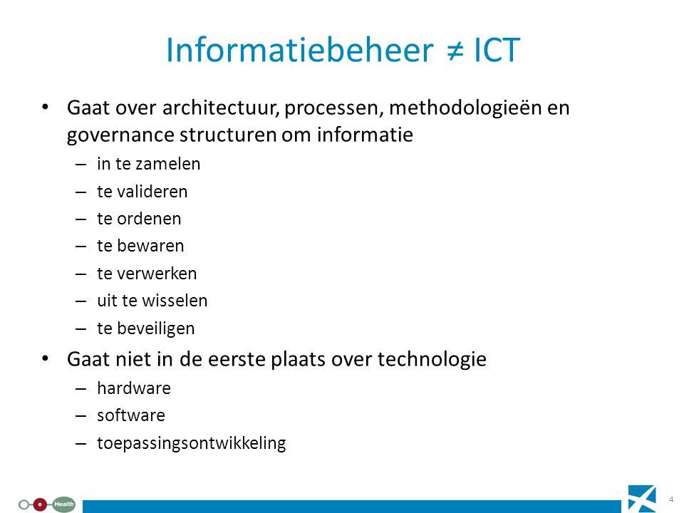 Informatiebeheer ≠ ICT Gaat over architectuur, processen, methodologieën en governance structuren om informatie – in te zamelen – te valideren – te or