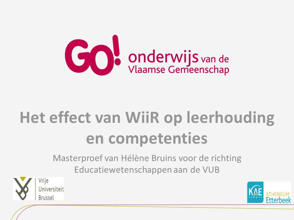 Het effect van WiiR op leerhouding en competenties Masterproef van Hélène Bruins voor de richting Educatiewetenschappen aan de VUB