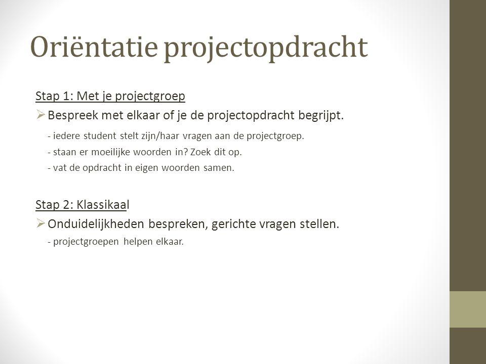 Oriëntatie projectopdracht Stap 1: Met je projectgroep  Bespreek met elkaar of je de projectopdracht begrijpt.