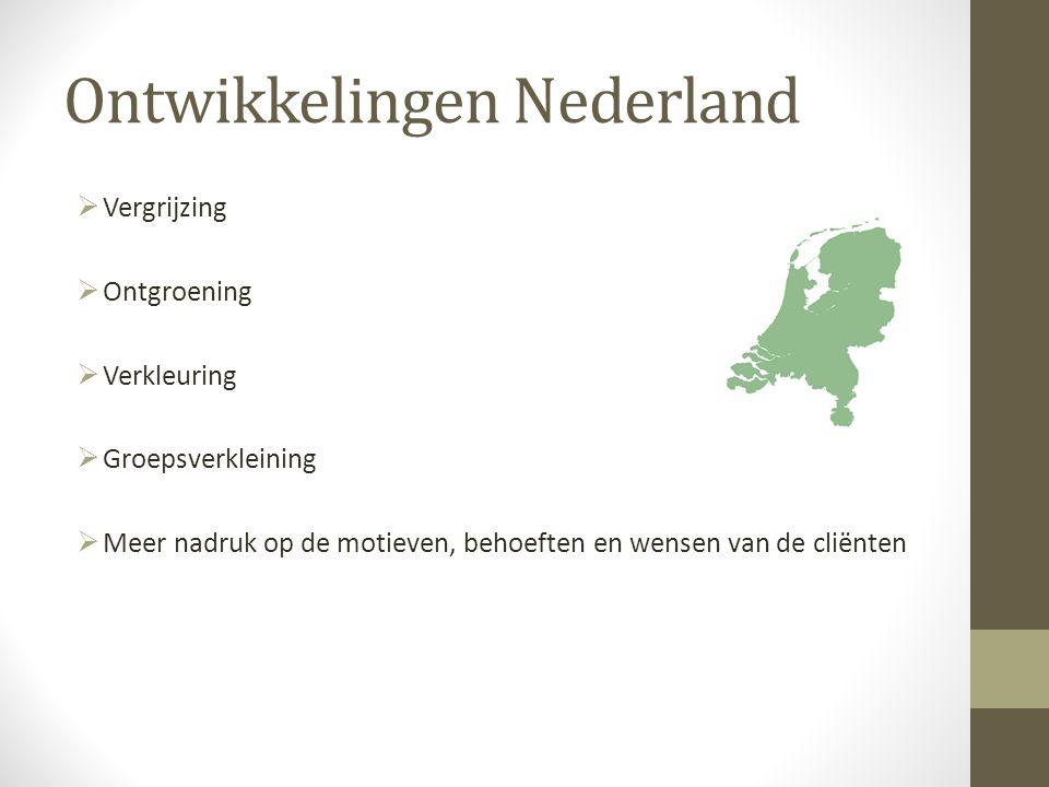 Ontwikkelingen Nederland  Vergrijzing  Ontgroening  Verkleuring  Groepsverkleining  Meer nadruk op de motieven, behoeften en wensen van de cliënten