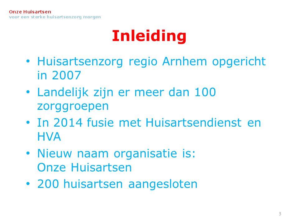 Inleiding Huisartsenzorg regio Arnhem opgericht in 2007 Landelijk zijn er meer dan 100 zorggroepen In 2014 fusie met Huisartsendienst en HVA Nieuw naam organisatie is: Onze Huisartsen 200 huisartsen aangesloten 3
