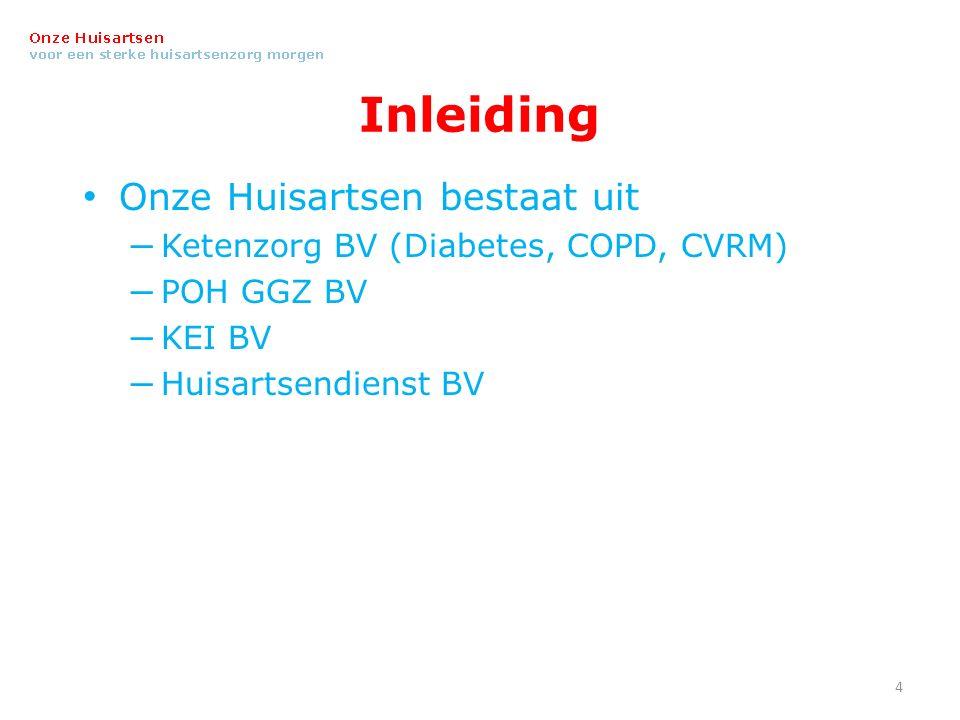 Inleiding Onze Huisartsen bestaat uit – Ketenzorg BV (Diabetes, COPD, CVRM) – POH GGZ BV – KEI BV – Huisartsendienst BV 4