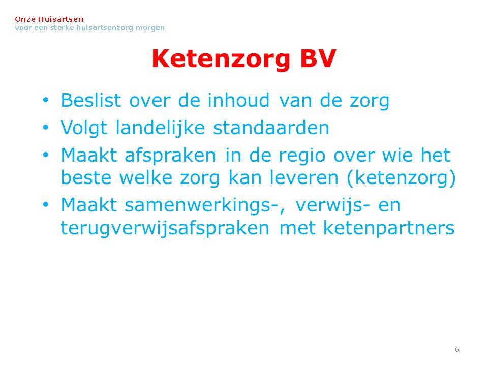 Ketenzorg BV Beslist over de inhoud van de zorg Volgt landelijke standaarden Maakt afspraken in de regio over wie het beste welke zorg kan leveren (ketenzorg) Maakt samenwerkings-, verwijs- en terugverwijsafspraken met ketenpartners 6