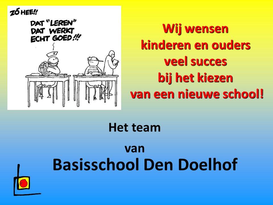 Wij wensen kinderen en ouders veel succes bij het kiezen van een nieuwe school! Basisschool Den Doelhof Het team van