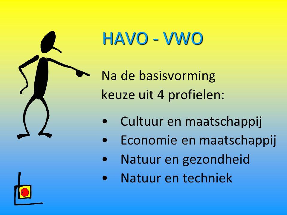 HAVO - VWO Na de basisvorming keuze uit 4 profielen: Cultuur en maatschappij Economie en maatschappij Natuur en gezondheid Natuur en techniek