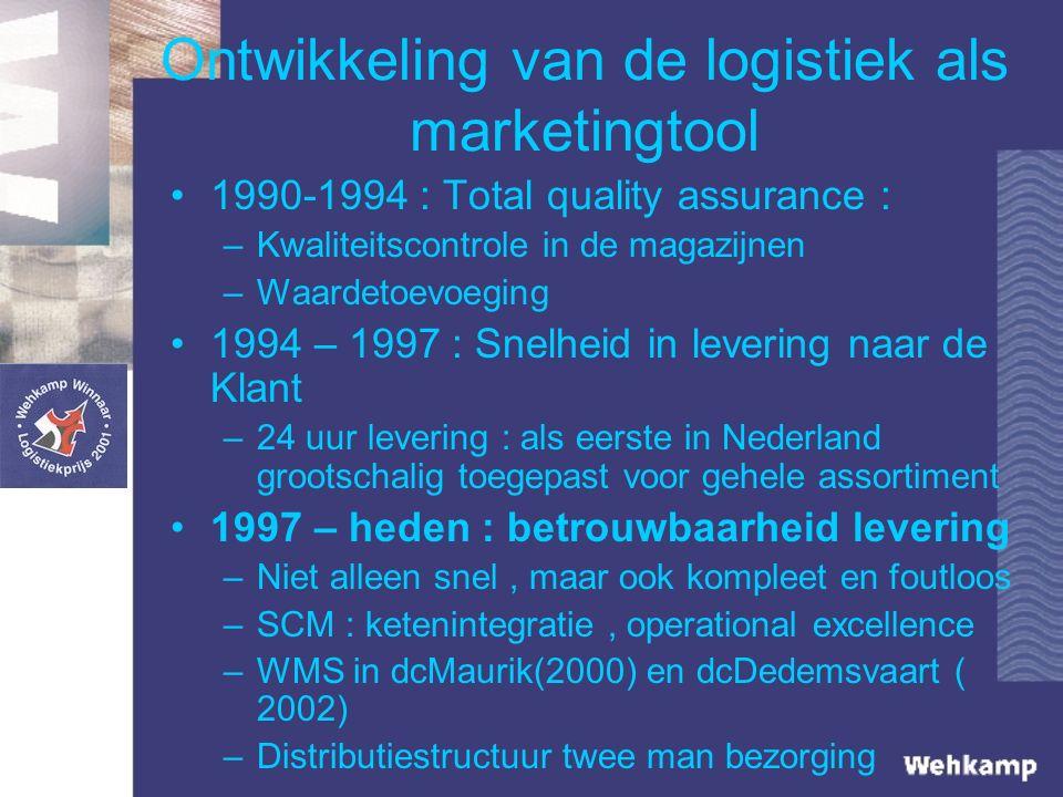 Ontwikkeling van de logistiek als marketingtool 1990-1994 : Total quality assurance : –Kwaliteitscontrole in de magazijnen –Waardetoevoeging 1994 – 1997 : Snelheid in levering naar de Klant –24 uur levering : als eerste in Nederland grootschalig toegepast voor gehele assortiment 1997 – heden : betrouwbaarheid levering –Niet alleen snel, maar ook kompleet en foutloos –SCM : ketenintegratie, operational excellence –WMS in dcMaurik(2000) en dcDedemsvaart ( 2002) –Distributiestructuur twee man bezorging