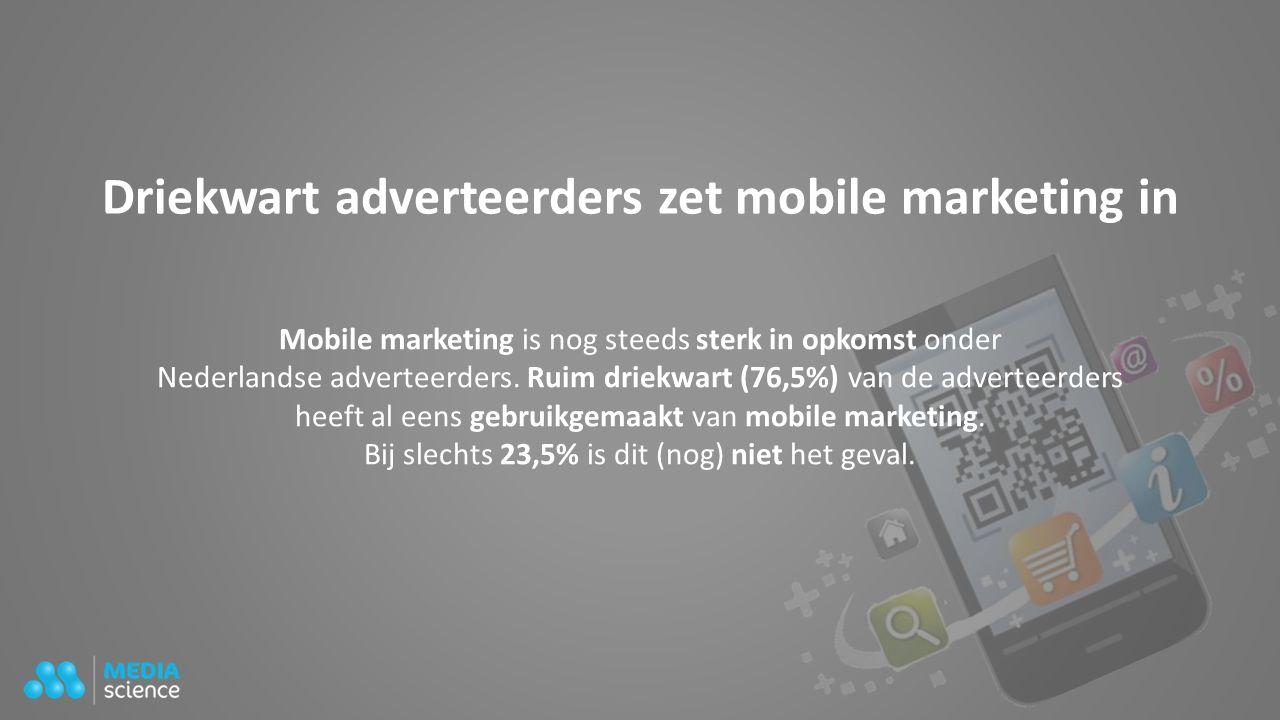 Driekwart adverteerders zet mobile marketing in Mobile marketing is nog steeds sterk in opkomst onder Nederlandse adverteerders. Ruim driekwart (76,5%