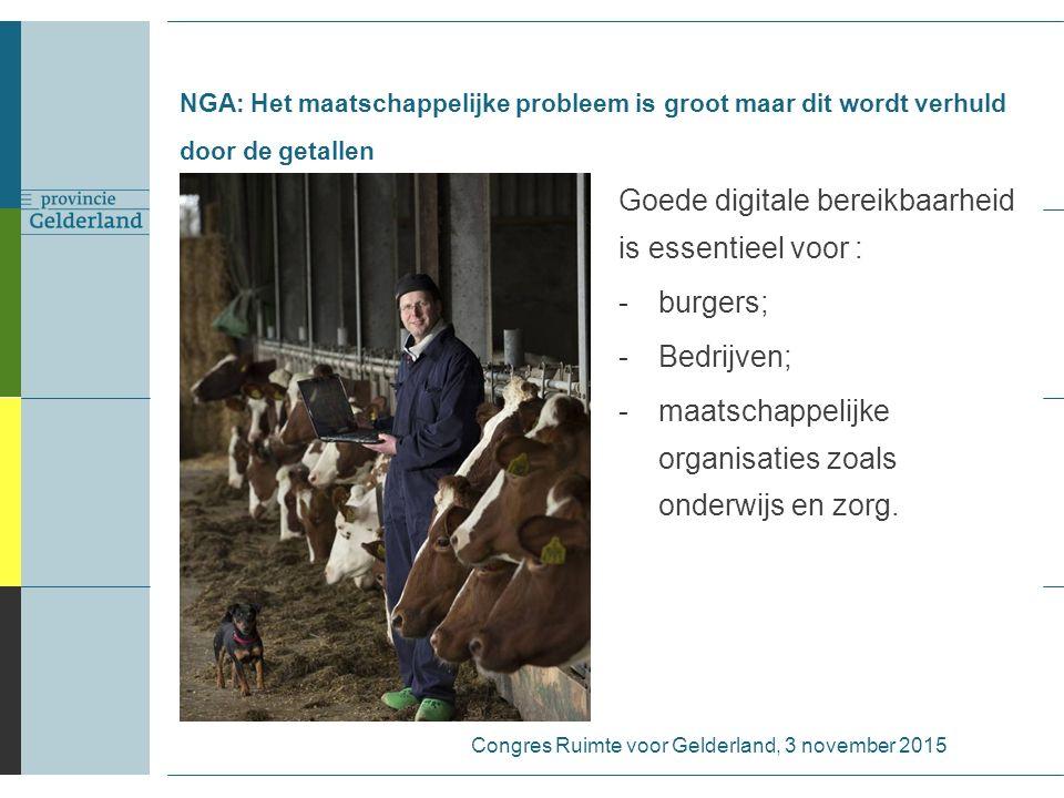 NGA: Het maatschappelijke probleem is groot maar dit wordt verhuld door de getallen Goede digitale bereikbaarheid is essentieel voor : -burgers; -Bedr