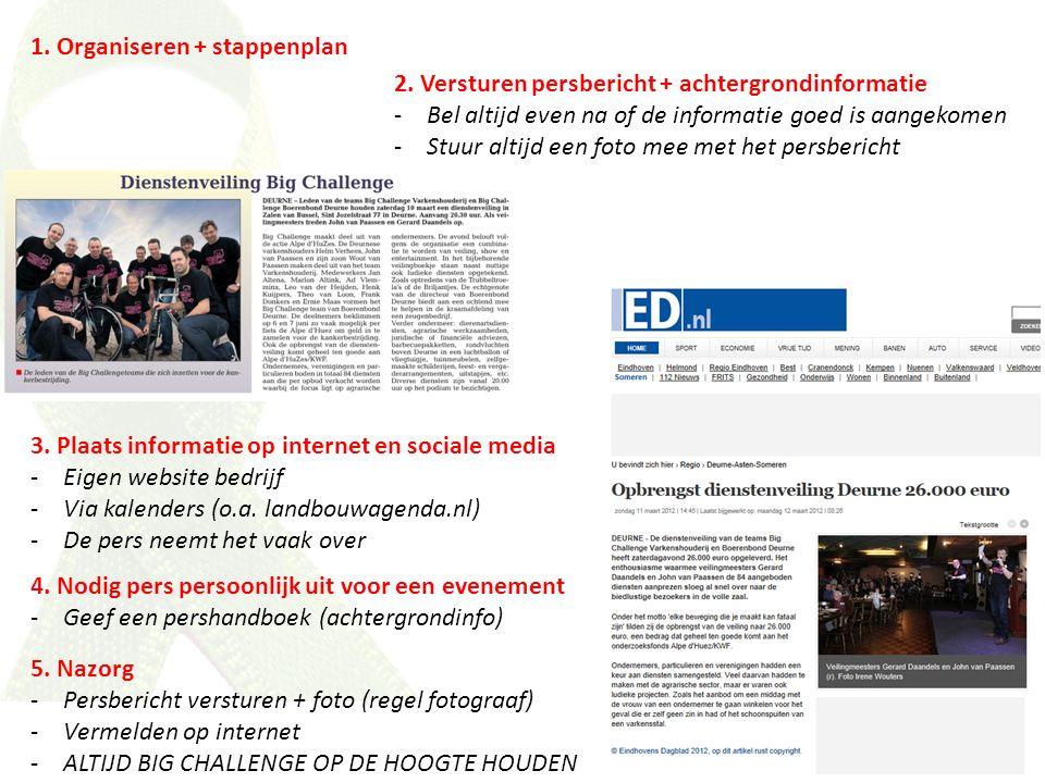 1. Organiseren + stappenplan 2. Versturen persbericht + achtergrondinformatie -Bel altijd even na of de informatie goed is aangekomen -Stuur altijd ee
