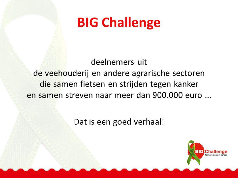 BIG Challenge deelnemers uit de veehouderij en andere agrarische sectoren die samen fietsen en strijden tegen kanker en samen streven naar meer dan 90