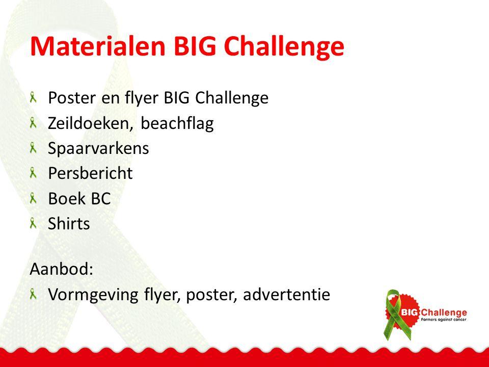 Materialen BIG Challenge Poster en flyer BIG Challenge Zeildoeken, beachflag Spaarvarkens Persbericht Boek BC Shirts Aanbod: Vormgeving flyer, poster, advertentie