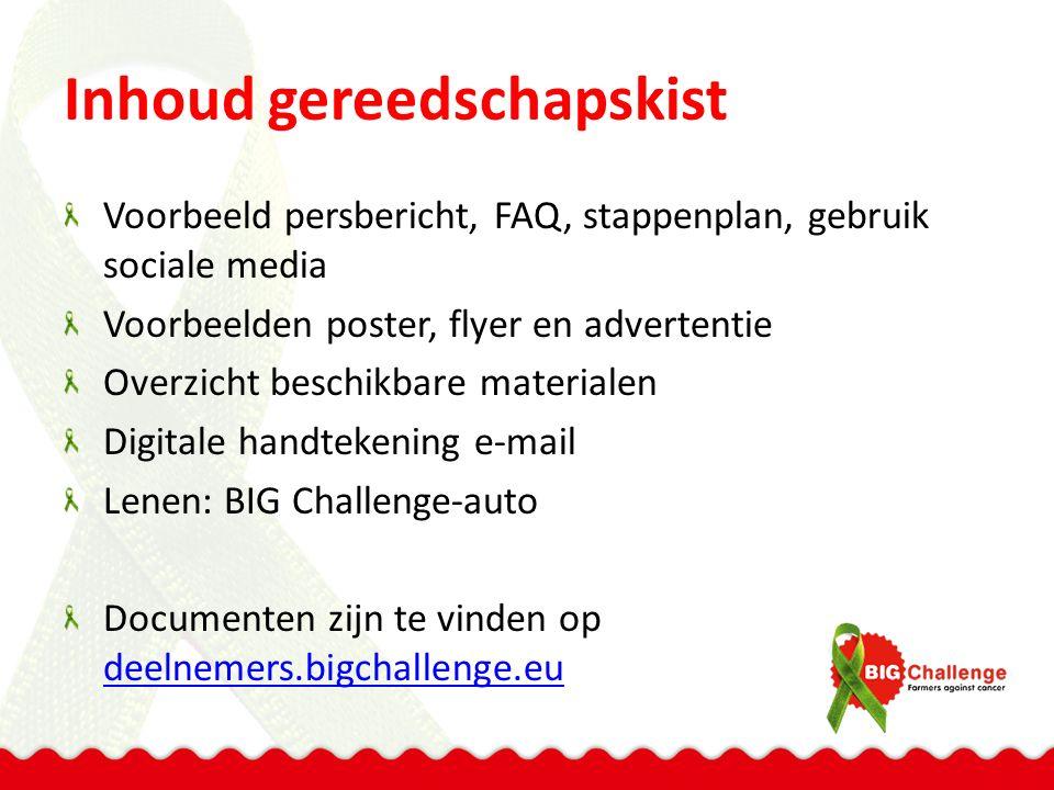 Inhoud gereedschapskist Voorbeeld persbericht, FAQ, stappenplan, gebruik sociale media Voorbeelden poster, flyer en advertentie Overzicht beschikbare