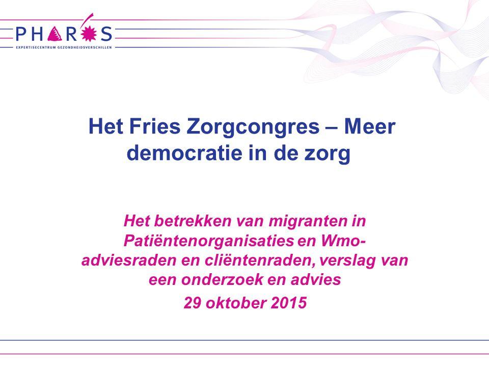 Pharos Migranten: patiënten- en cliëntenparticipatie Casus: Migrantenpanel bij een onderzoek naar patiëntenparticipatie van migranten Advies: hoe betrek je migranten bij patiëntenorganisaties, Wmo-raden en adviesraden Inhoud parallelsessie Gezondheid en kwaliteit van zorg voor iedereenpagina 2