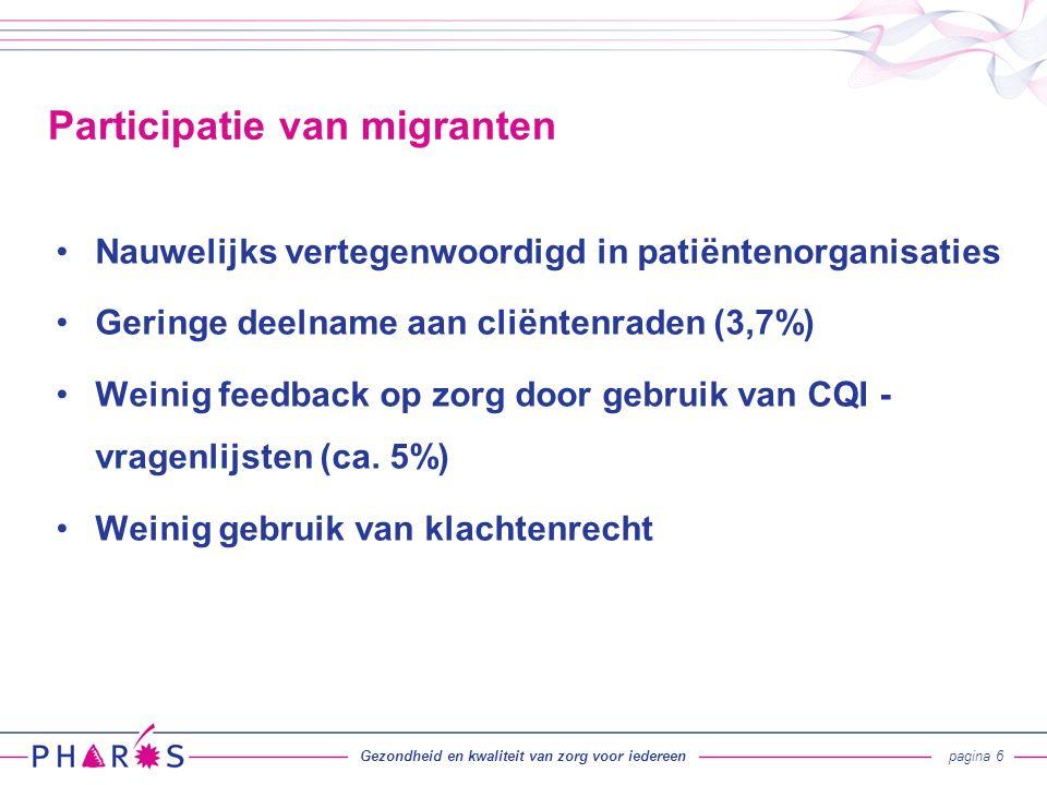 Participatie: migranten in CR per regio (Verkennend onderzoek IIse van der Klift, Pharos 2015) Gezondheid en kwaliteit van zorg voor iedereenpagina 7