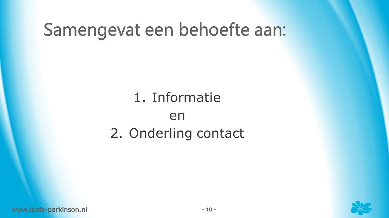 1.Informatie en 2.Onderling contact www.leafs-parkinson.nl - 10 -