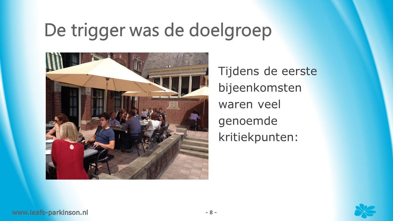 Tijdens de eerste bijeenkomsten waren veel genoemde kritiekpunten: www.leafs-parkinson.nl - 8 -