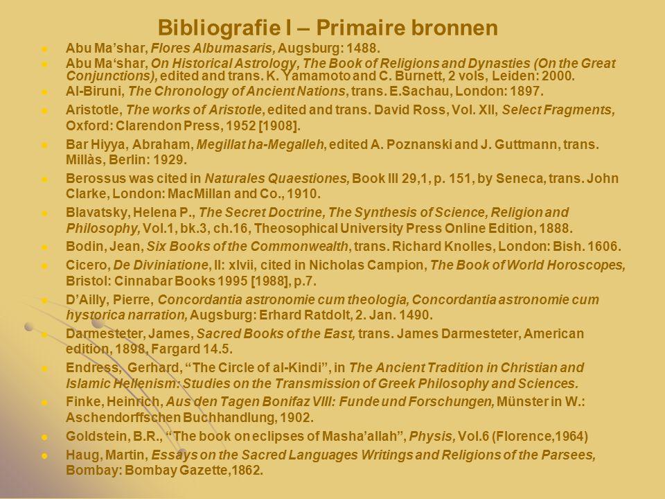 Bibliografie I – Primaire bronnen Abu Ma'shar, Flores Albumasaris, Augsburg: 1488.