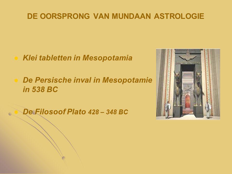 DE OORSPRONG VAN MUNDAAN ASTROLOGIE Klei tabletten in Mesopotamia De Persische inval in Mesopotamie in 538 BC De Filosoof Plato 428 – 348 BC