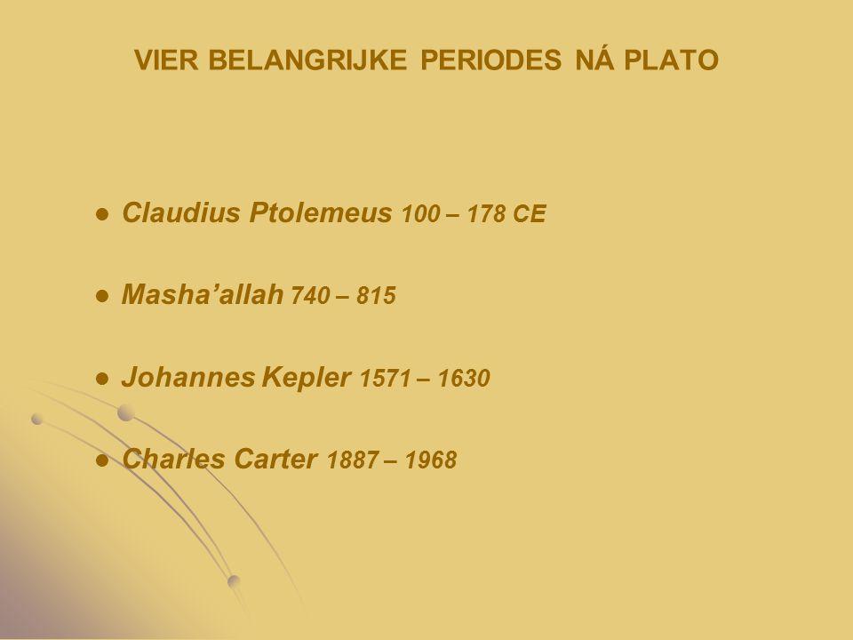 VIER BELANGRIJKE PERIODES NÁ PLATO Claudius Ptolemeus 100 – 178 CE Masha'allah 740 – 815 Johannes Kepler 1571 – 1630 Charles Carter 1887 – 1968