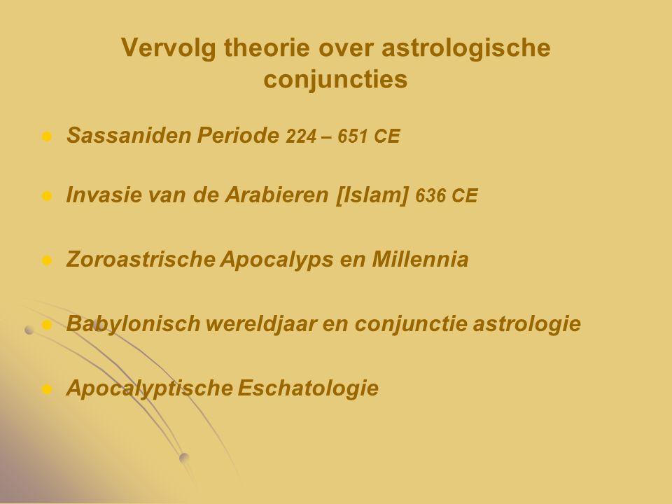 Vervolg theorie over astrologische conjuncties Sassaniden Periode 224 – 651 CE Invasie van de Arabieren [Islam] 636 CE Zoroastrische Apocalyps en Mill