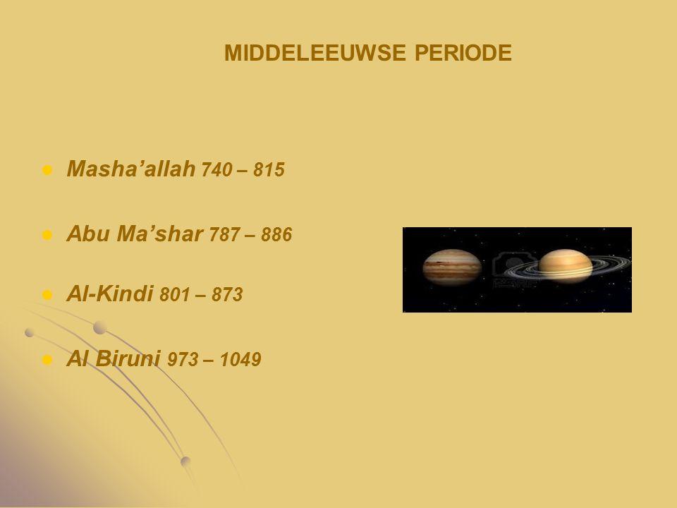 Masha'allah 740 – 815 Abu Ma'shar 787 – 886 Al-Kindi 801 – 873 Al Biruni 973 – 1049 MIDDELEEUWSE PERIODE