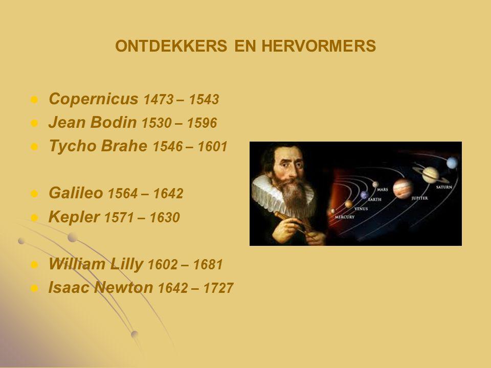 ONTDEKKERS EN HERVORMERS Copernicus 1473 – 1543 Jean Bodin 1530 – 1596 Tycho Brahe 1546 – 1601 Galileo 1564 – 1642 Kepler 1571 – 1630 William Lilly 16