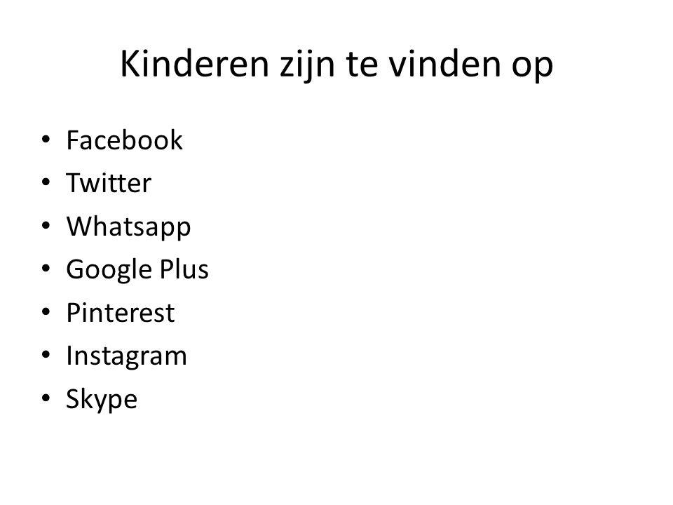 Kinderen zijn te vinden op Facebook Twitter Whatsapp Google Plus Pinterest Instagram Skype