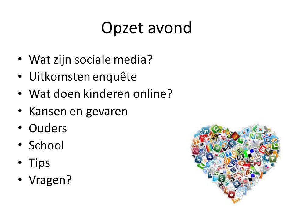Opzet avond Wat zijn sociale media? Uitkomsten enquête Wat doen kinderen online? Kansen en gevaren Ouders School Tips Vragen?